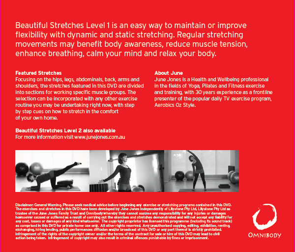 Beautiful Stretches Level 1 DVD Back Cover